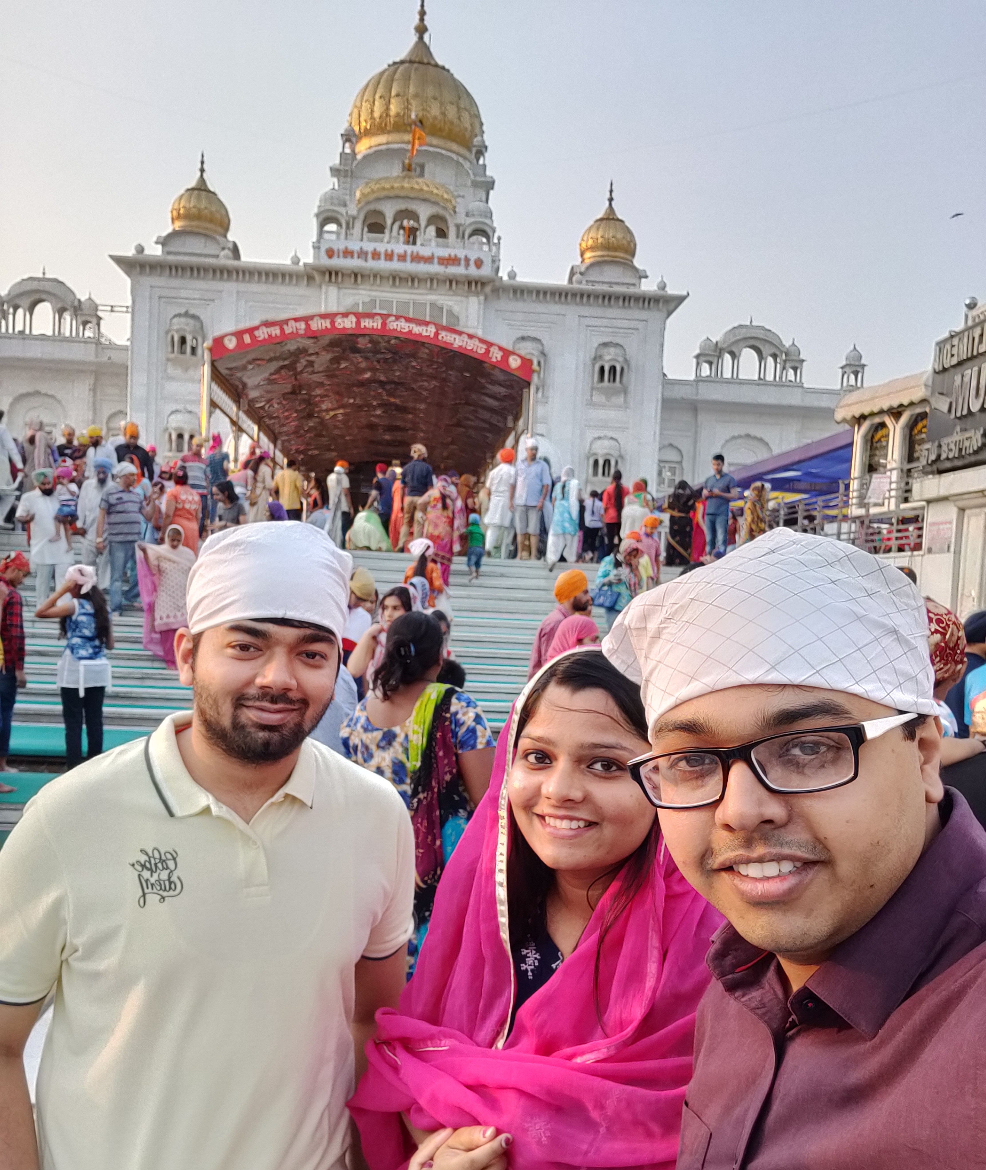 My brother, husband and I at the Gurudwara